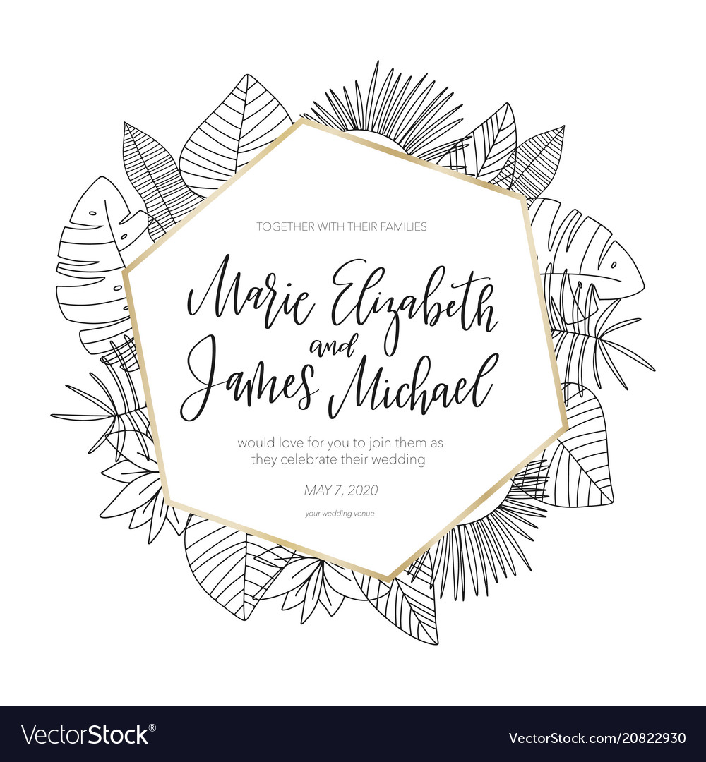 Tropical wedding invitation with flower elements