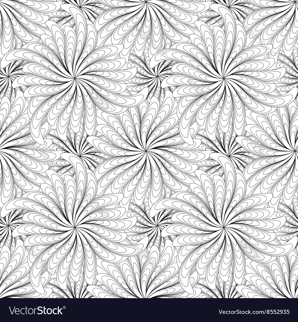 Abstract black and white flowers seamless pattern