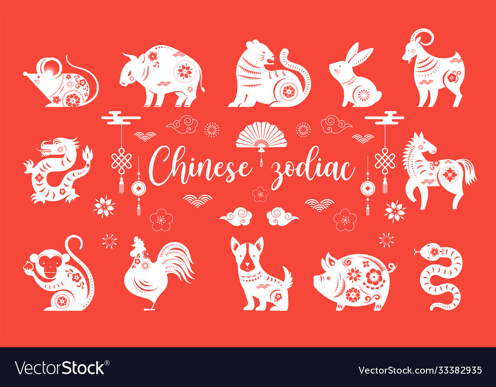 Chinese new year zodiac animals symbols