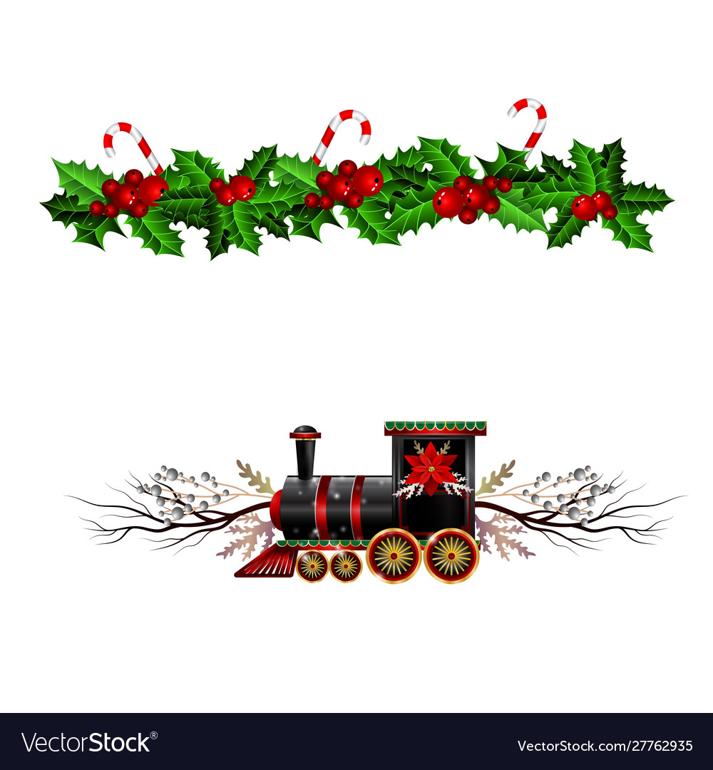 Christmas decorations with fir tree and train
