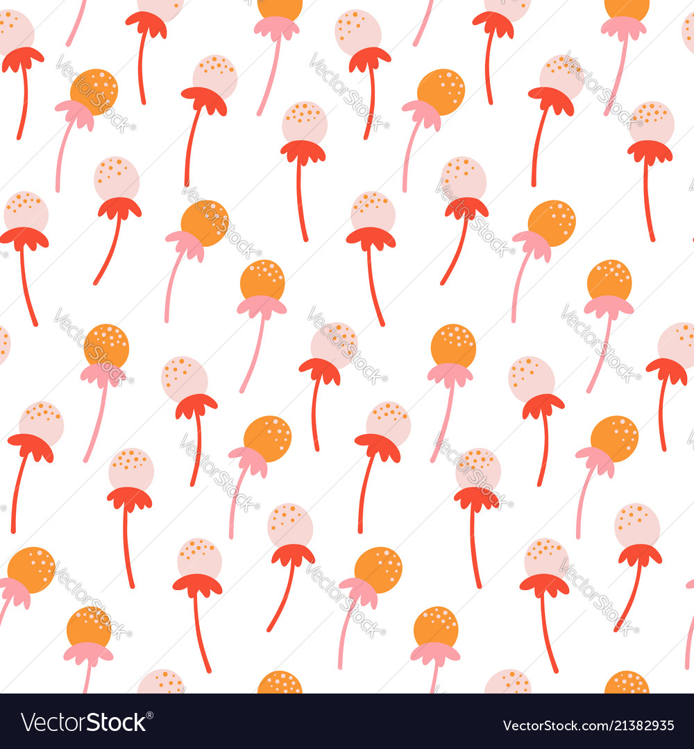 Cute seamless floral pattern with hand drawn