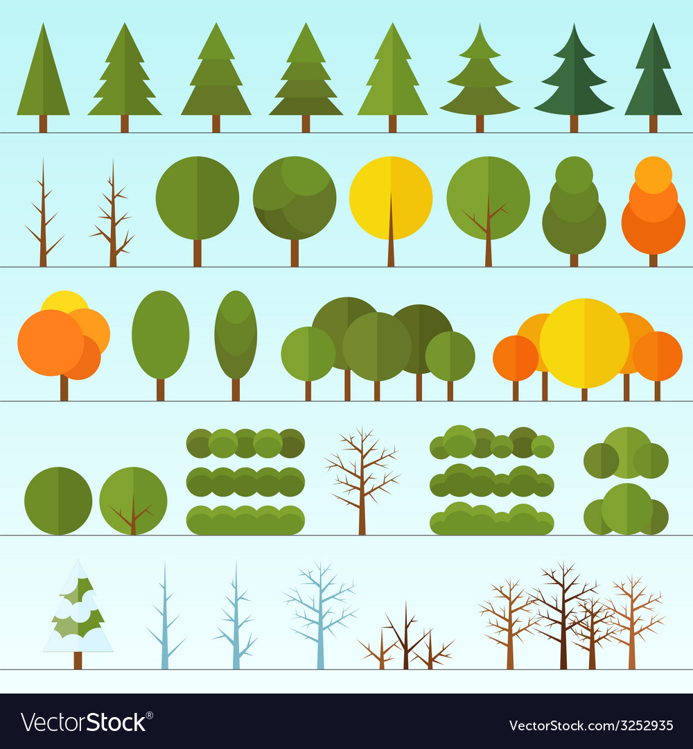 Different trees collection isolated