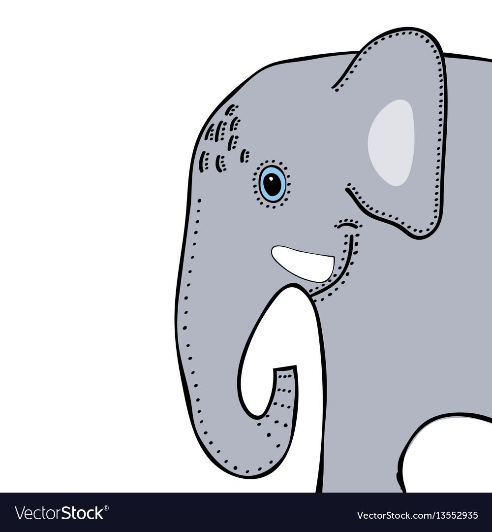 Elephant cute funny cartoon head