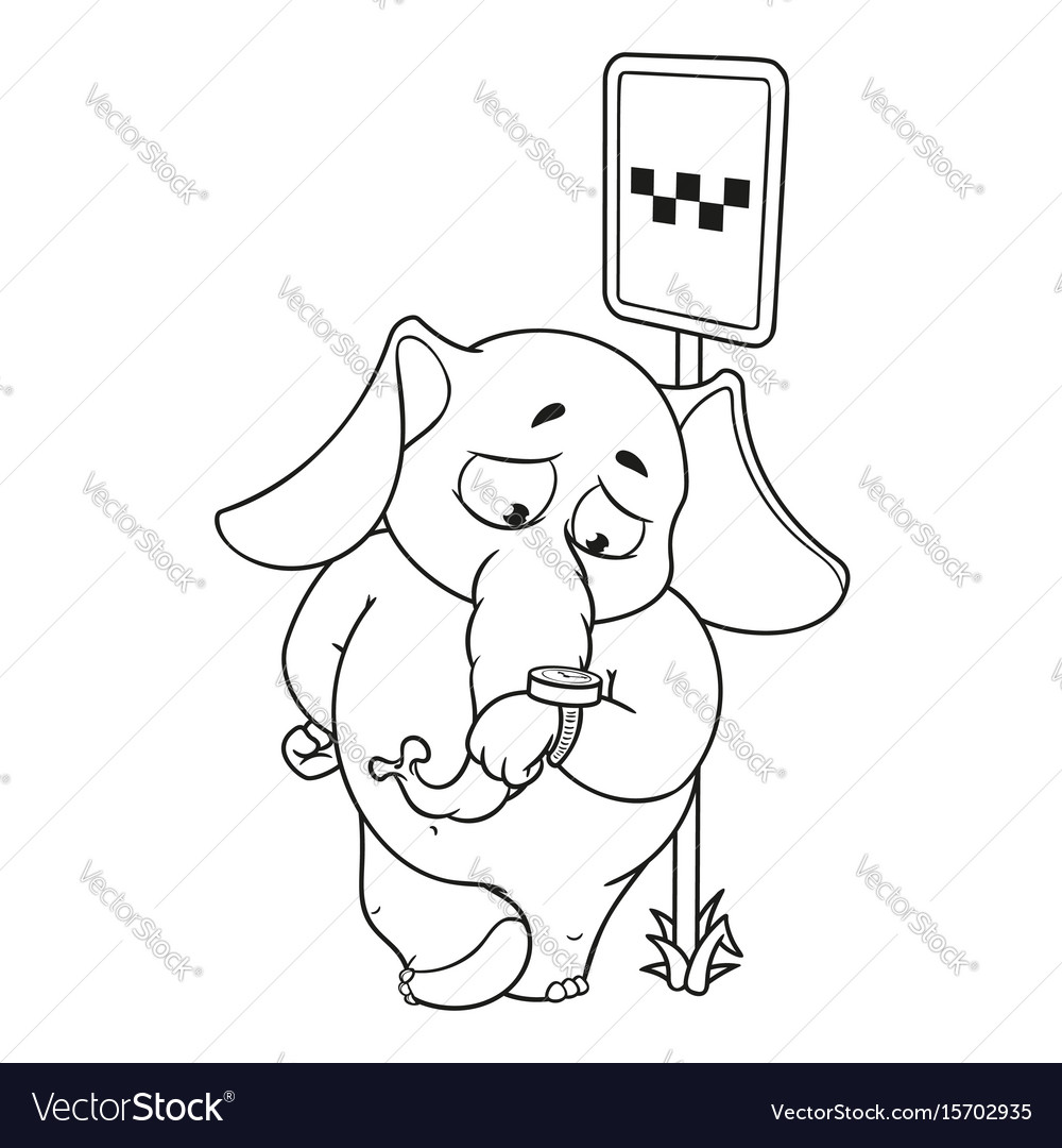 Elephant waiting for a taxi at the clock vector image