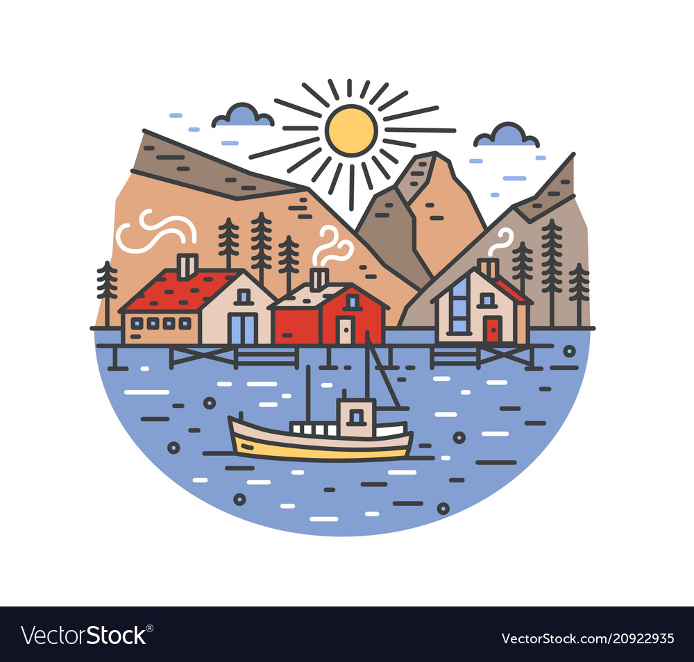 Gorgeous landscape with boat sailing in sea and