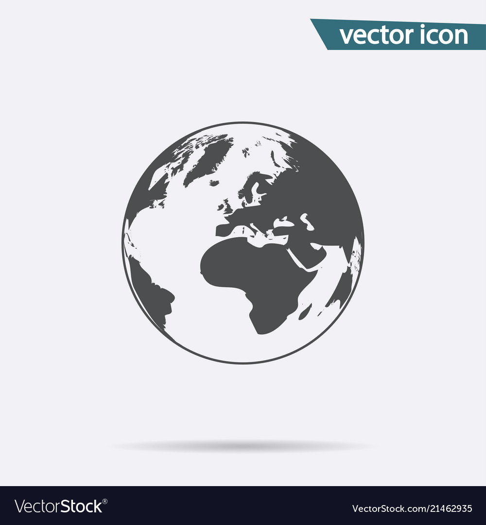 Gray earth icon isolated on background modern fla