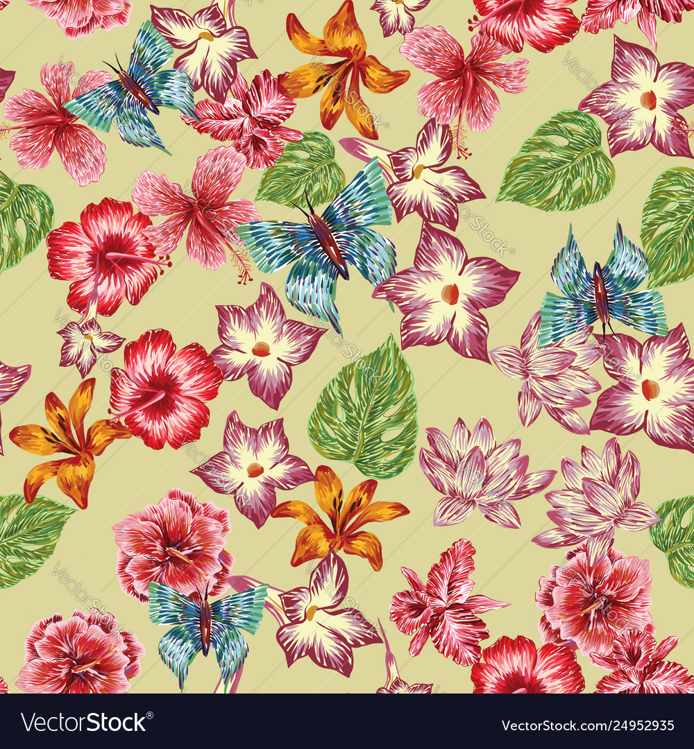 Hand drawn butterfly flowers leaves pattern