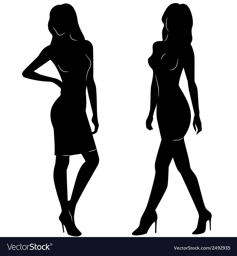 Sexy woman silhouettes in short dresses