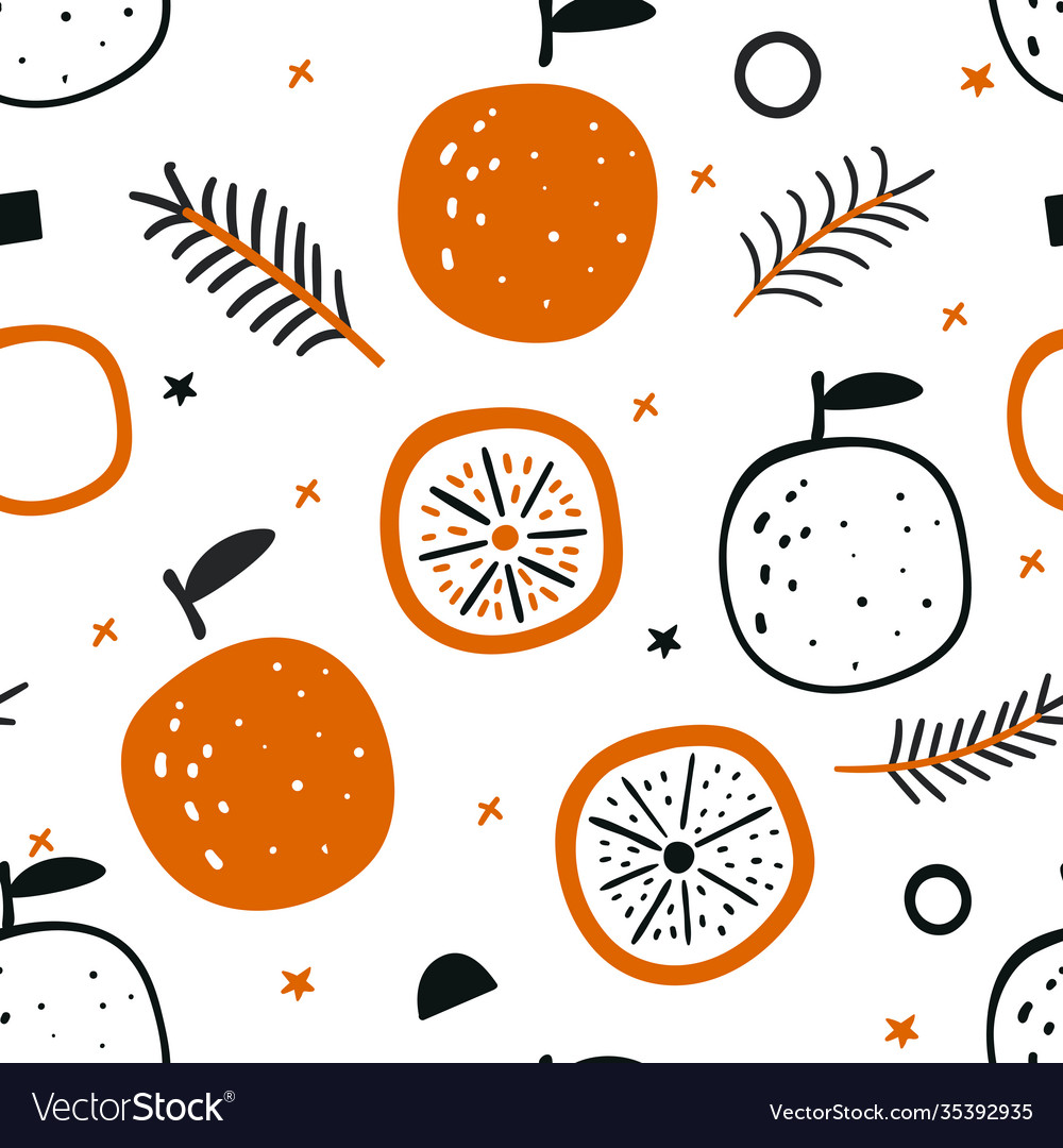 Tropical seamless pattern with red oranges fruit