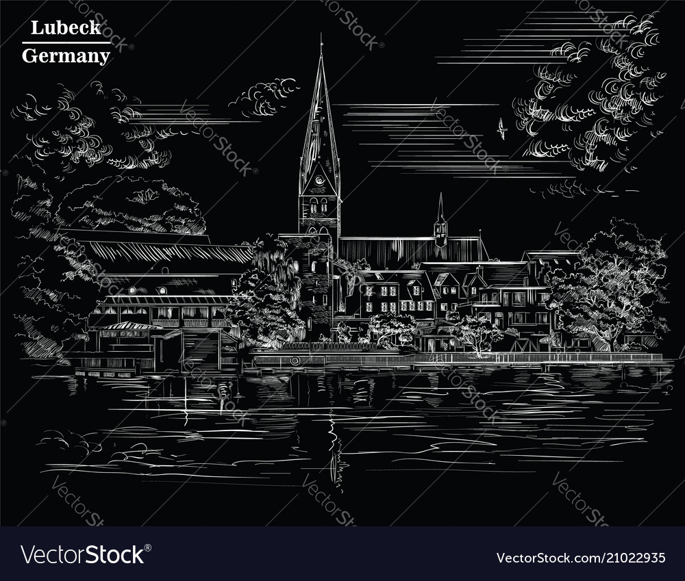 View on church of st mary in lubeck black