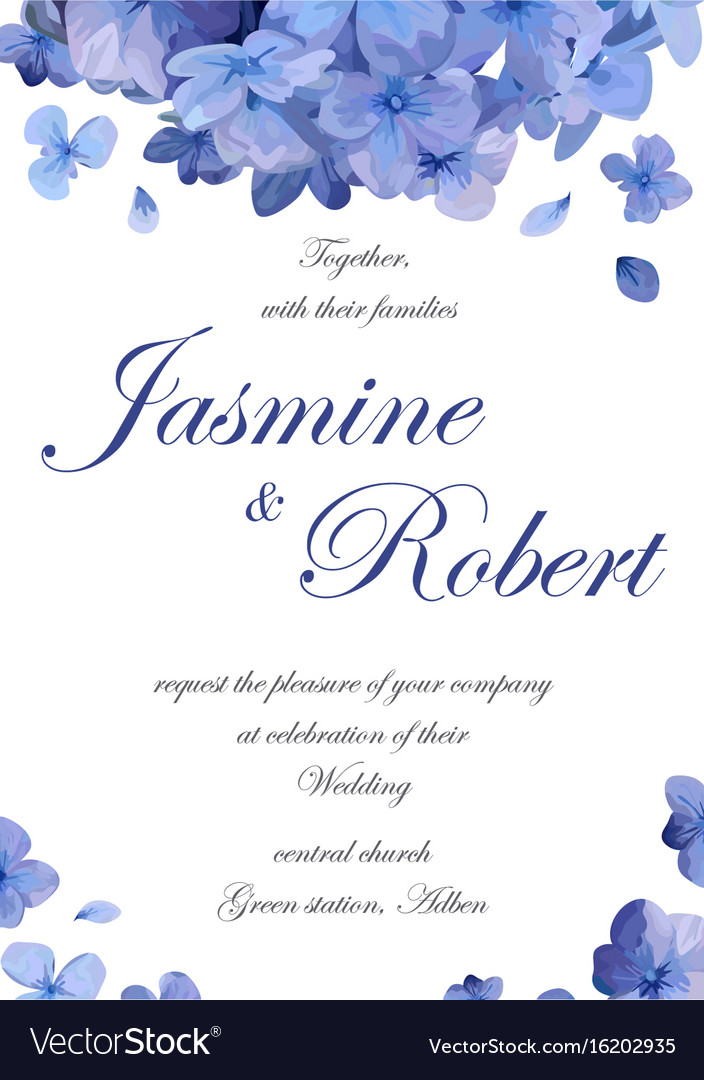Wedding Invitation Flower Invite Card Design With Vector Image