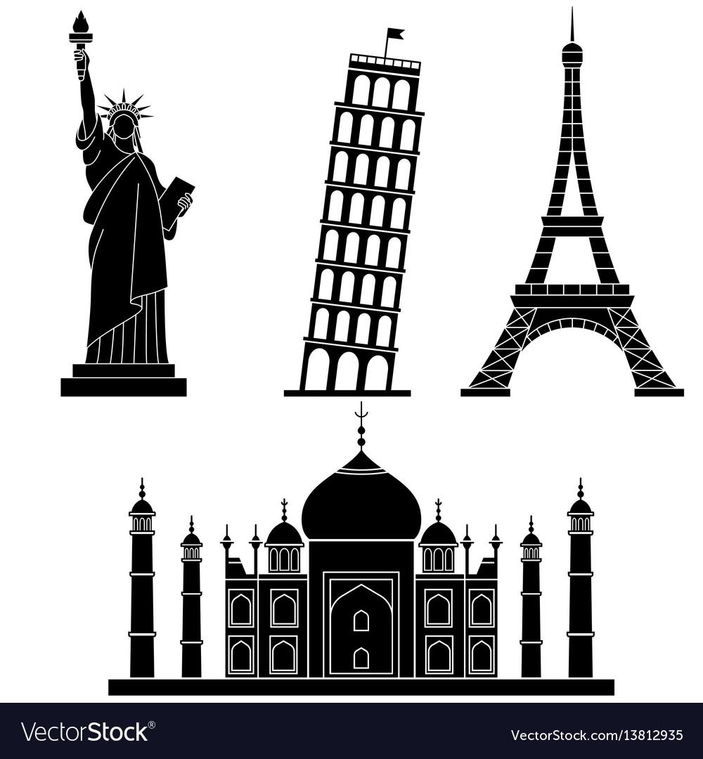 World landmarks statue of liberty eiffel tower