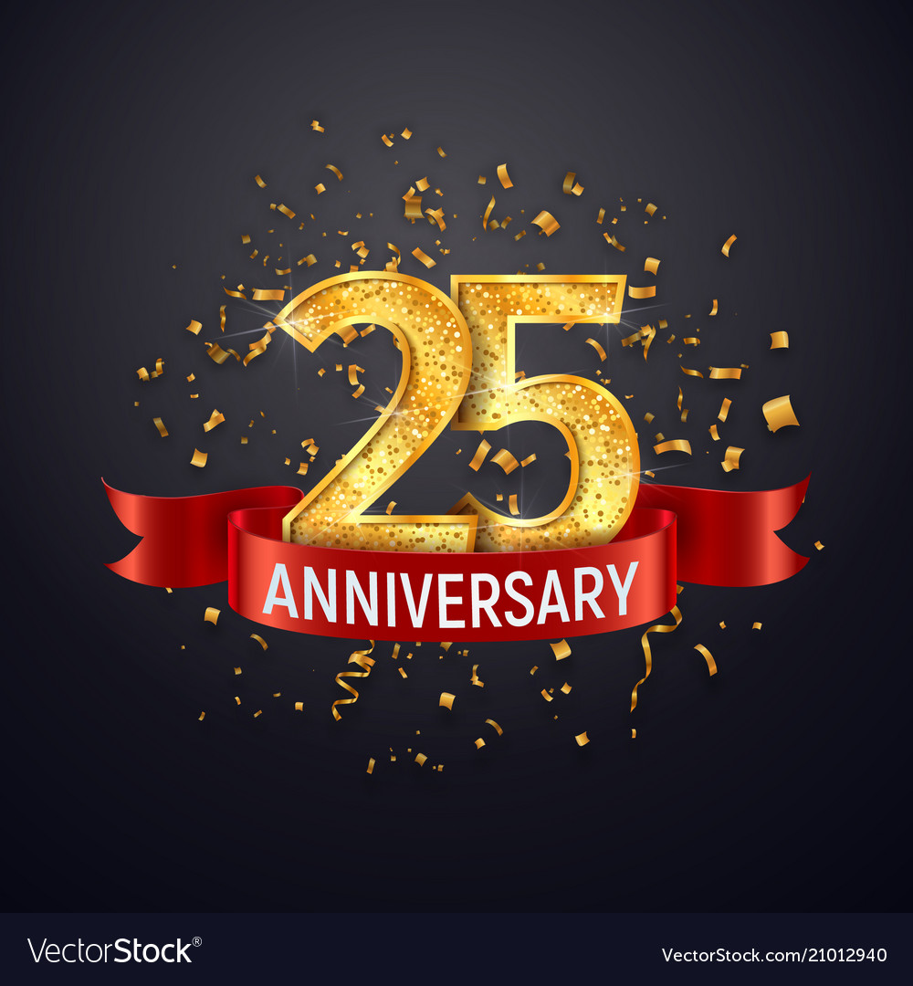 25 years anniversary logo template on dark vector image