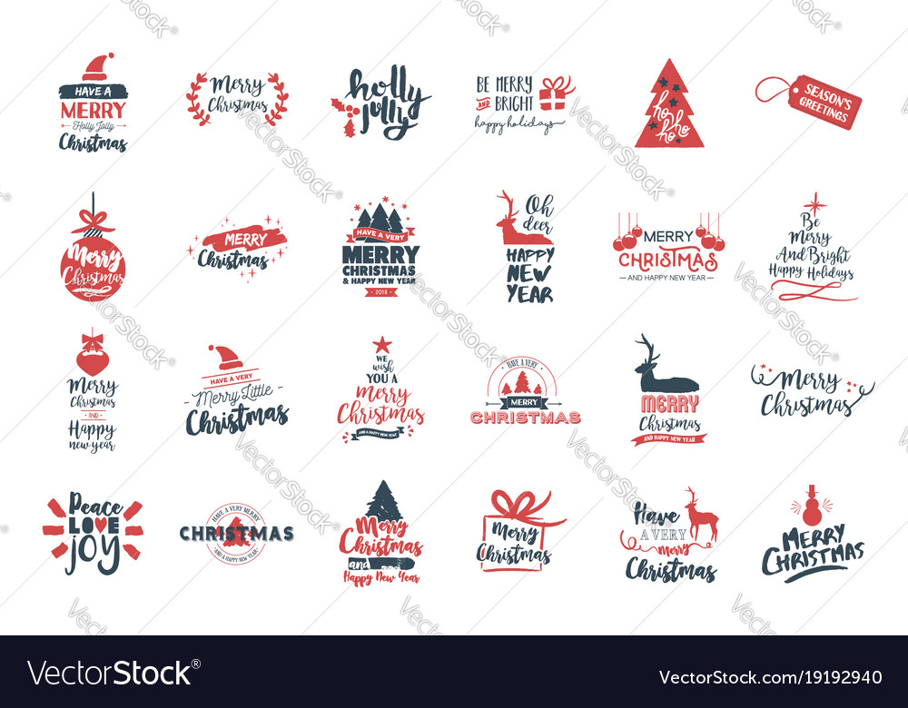 Christmas and new year big lettering quote set