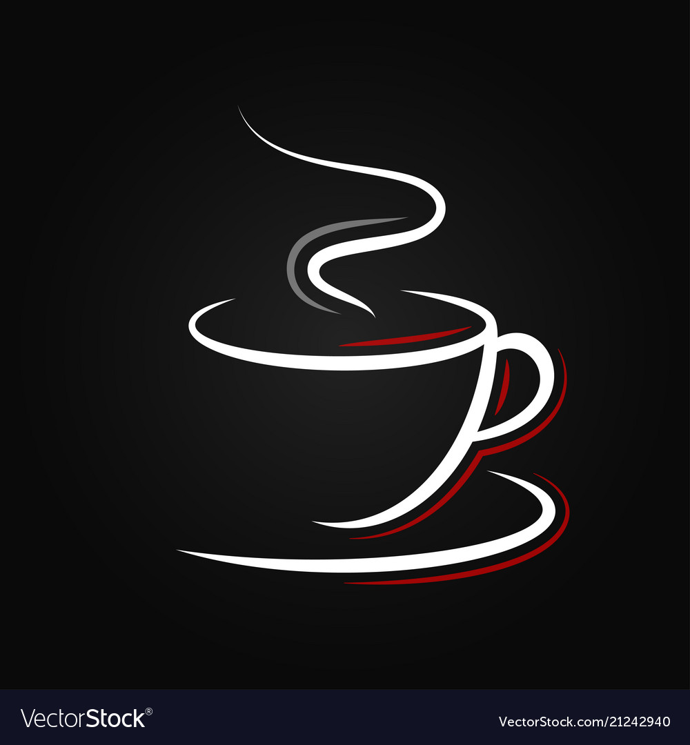 Coffee cup logo on black background Royalty Free Vector