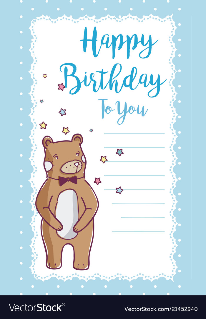 Happy Birthday Card With Bear Royalty Free Vector Image