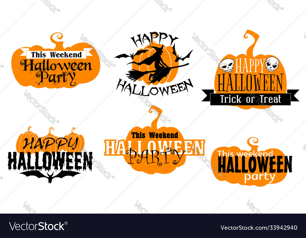 Happy halloween isolated icons with typography set