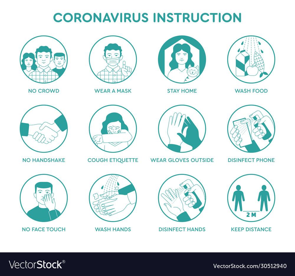 Infographic icons coronavirus instruction