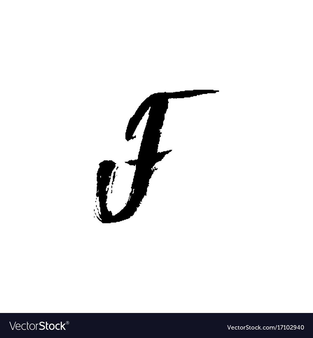 Letter f handwritten by dry brush rough strokes