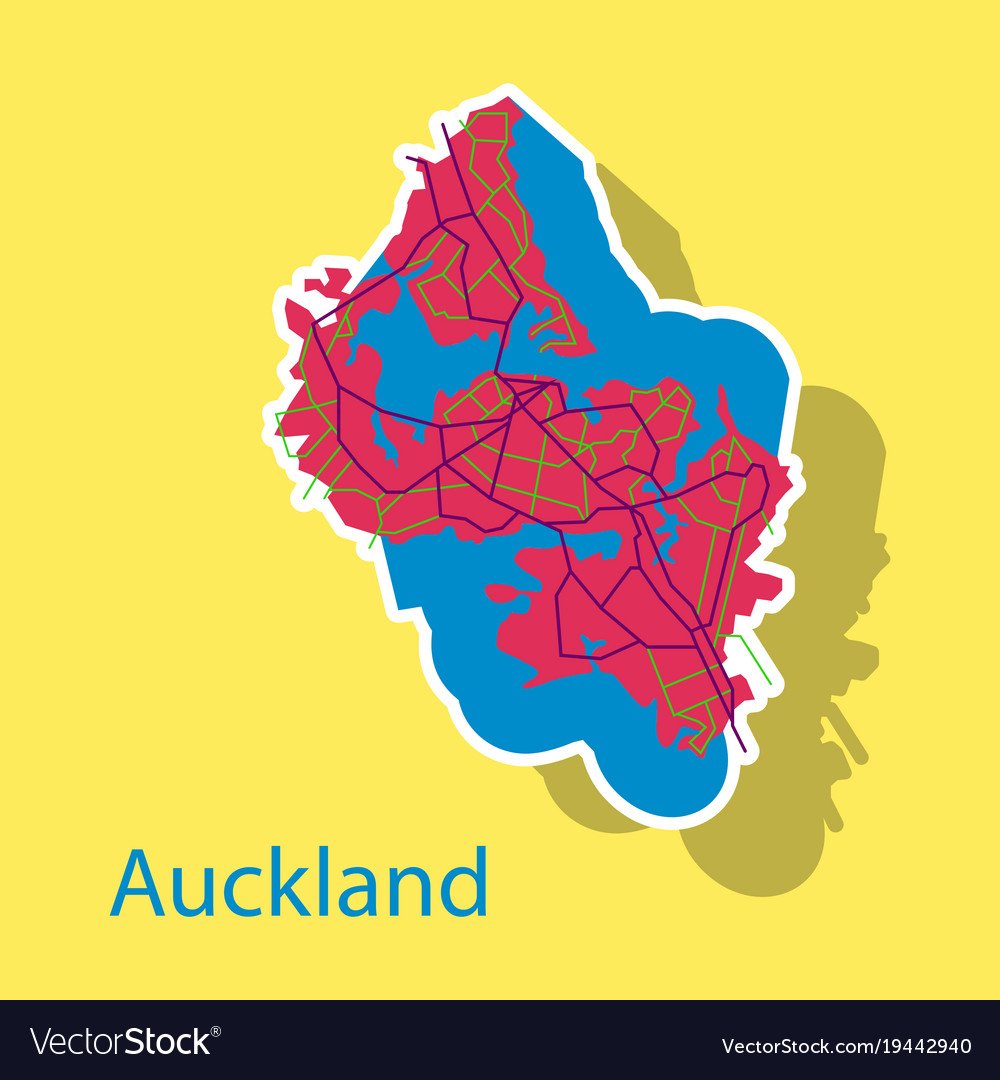 Map - auckland new zealand - sticker Royalty Free Vector