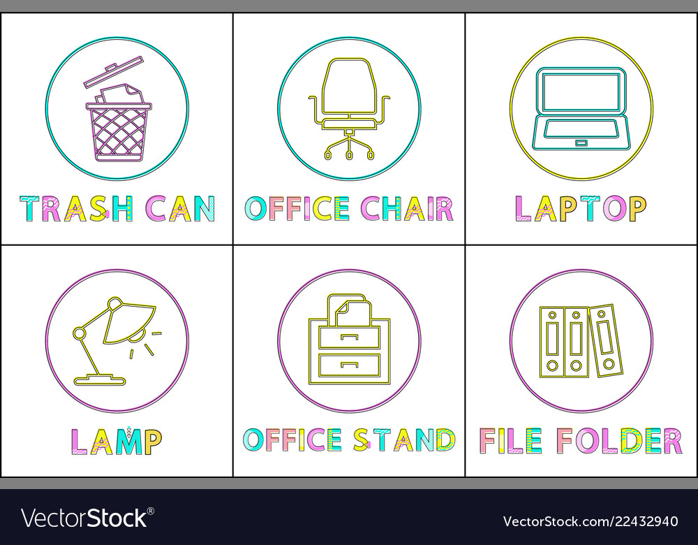 Office supplies as round linear icons templates