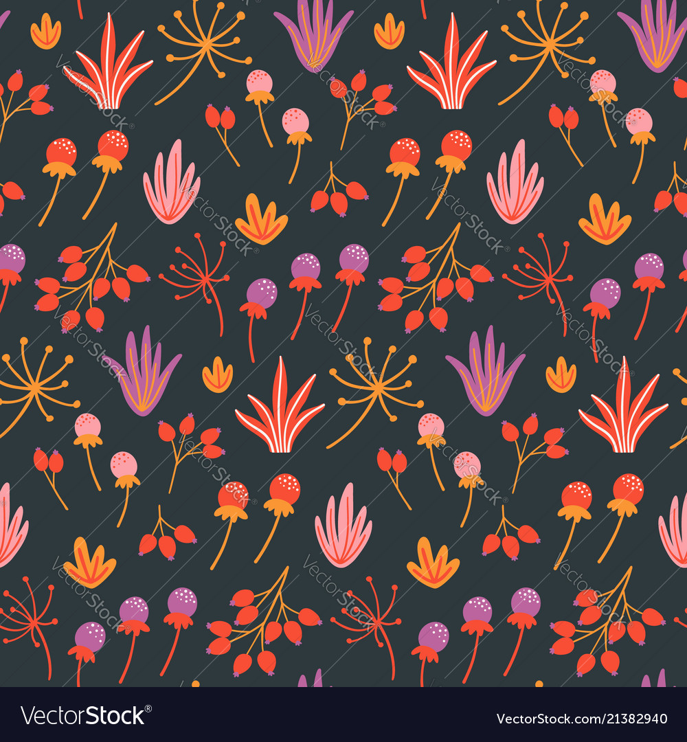 Seamless floral pattern with hand drawn wild