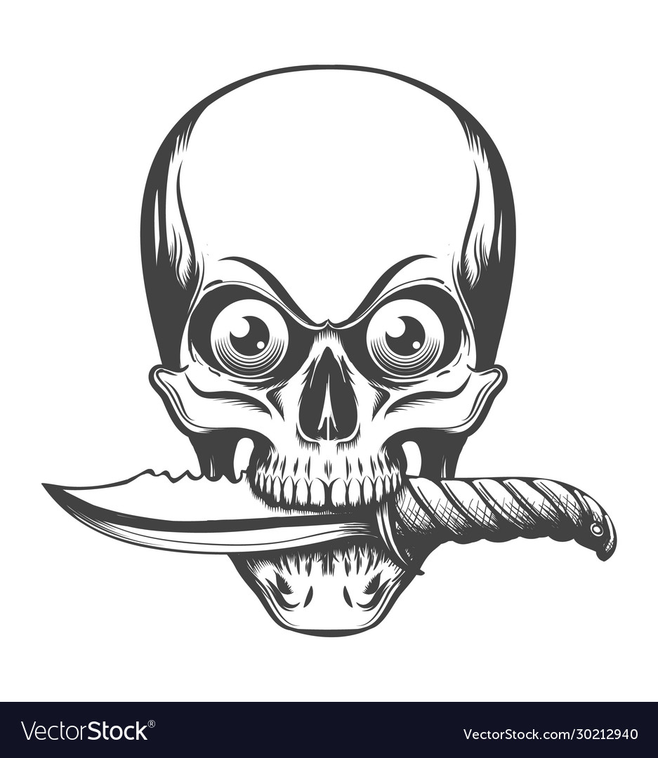 Skull with eyes and knife in teeth