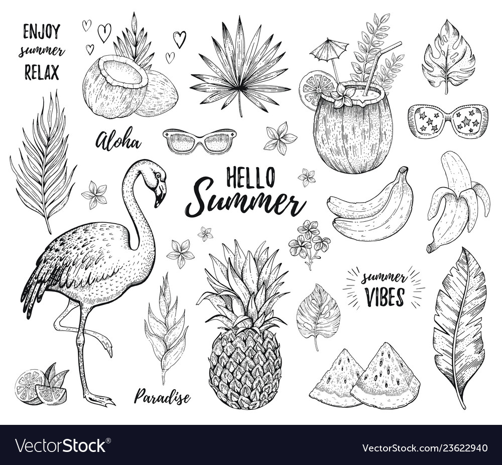 Summer tropic sticker set flamingo cocktail