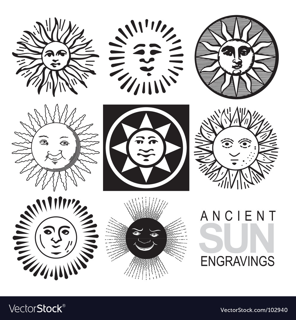 Sun icons retro engraving