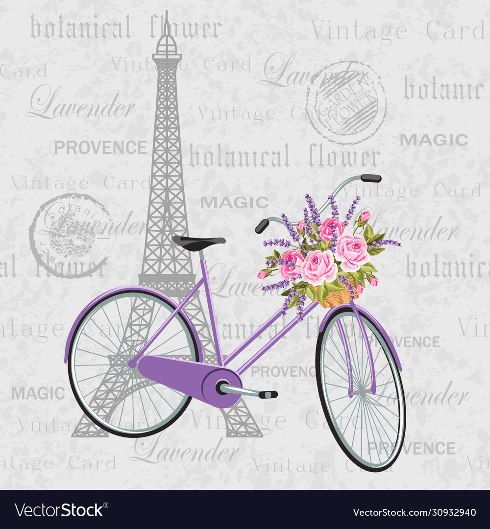 Violet bicycle with a basket full flowers