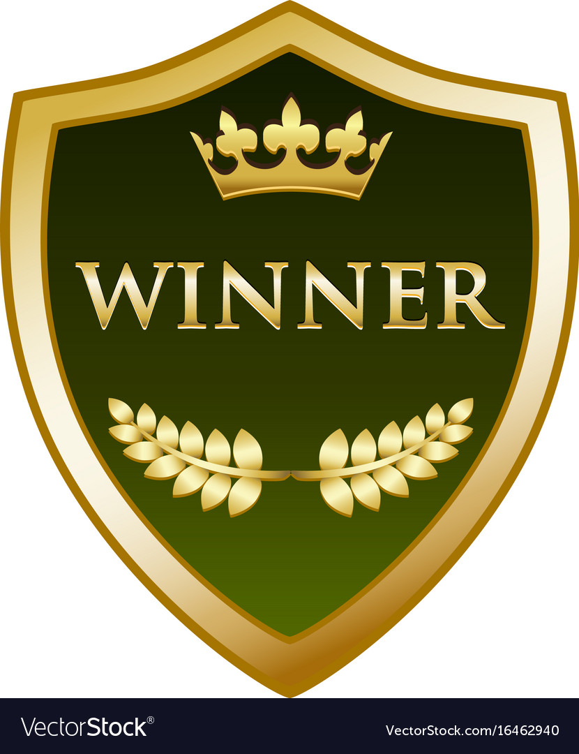 Winner gold shield icon