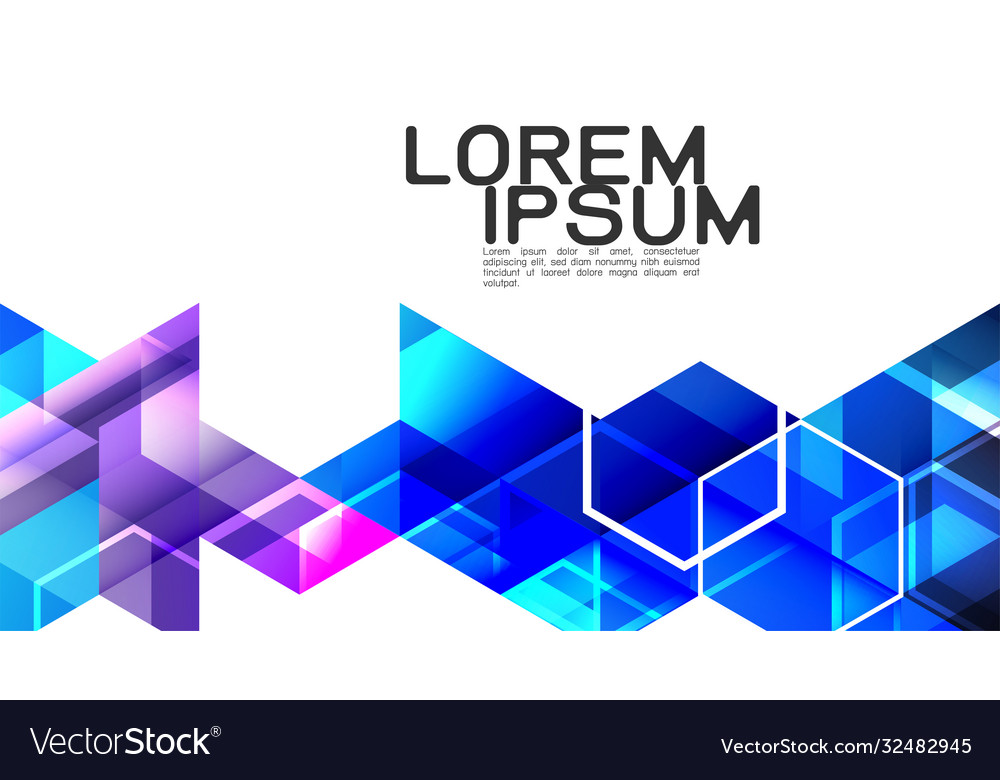 Abstract gradient blue mixed geometric template