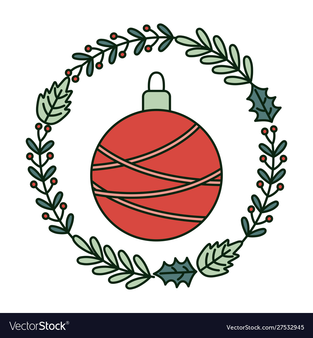 Ball with wreath branch berries decoration