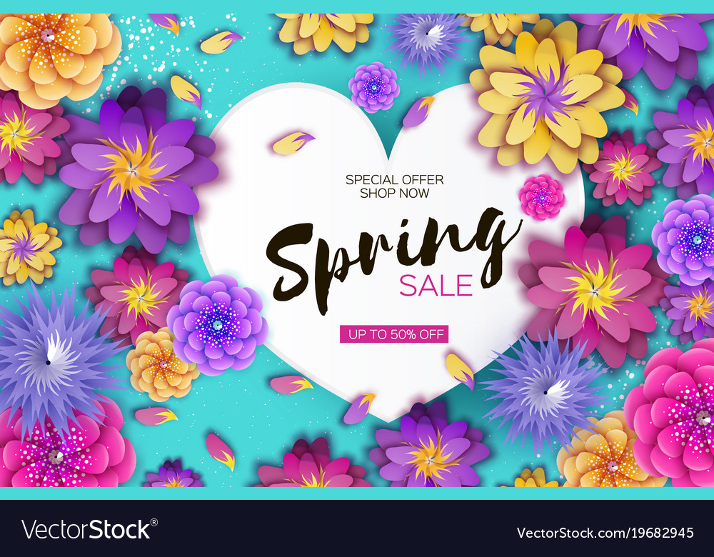 bright origami spring sale flowers banner paper vector image