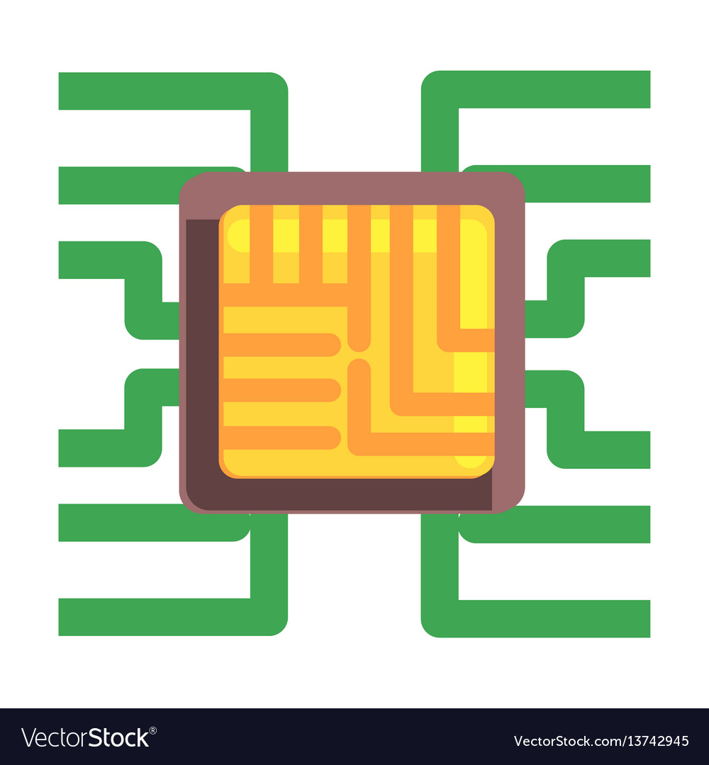 Computer chip plugged to the maternal board part vector image