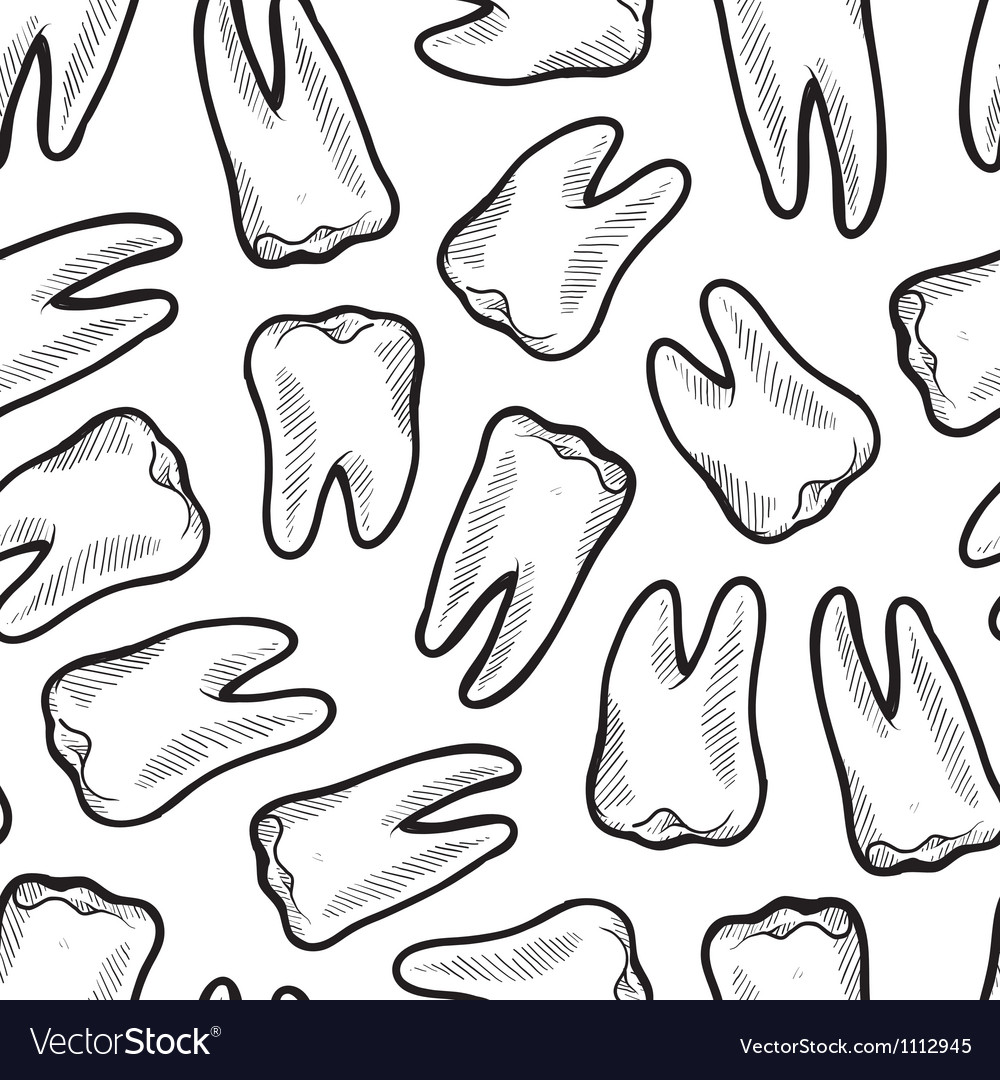 Doodle teeth pattern seamless