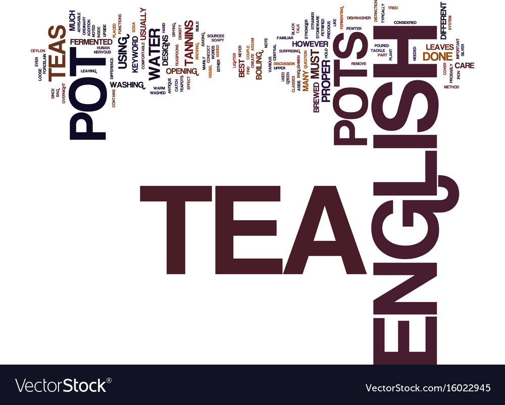 English tea pot text background word cloud concept vector image