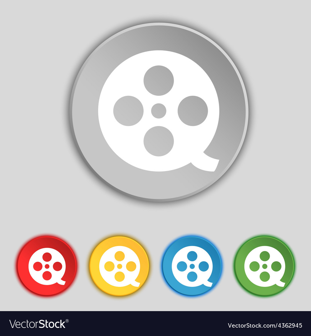 Film icon sign Symbol on five flat buttons vector image