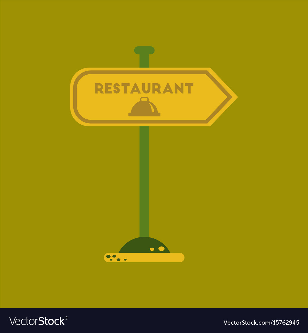Flat icon on background restaurant sign vector image