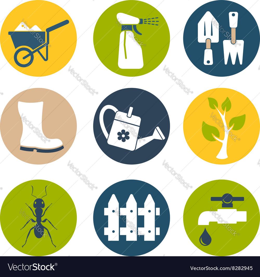 Gardening flat icons set