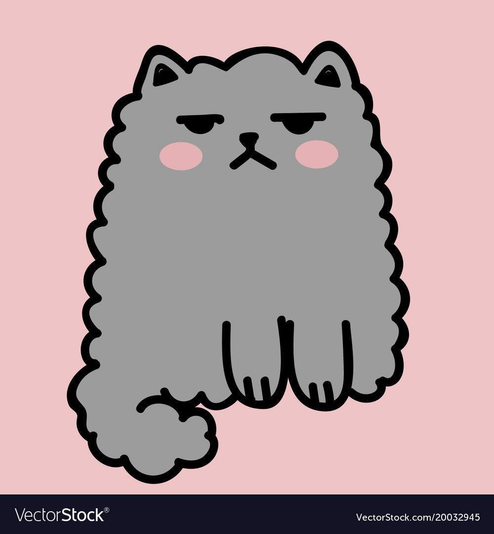 Kawaii cute fat white cat anime style vector image