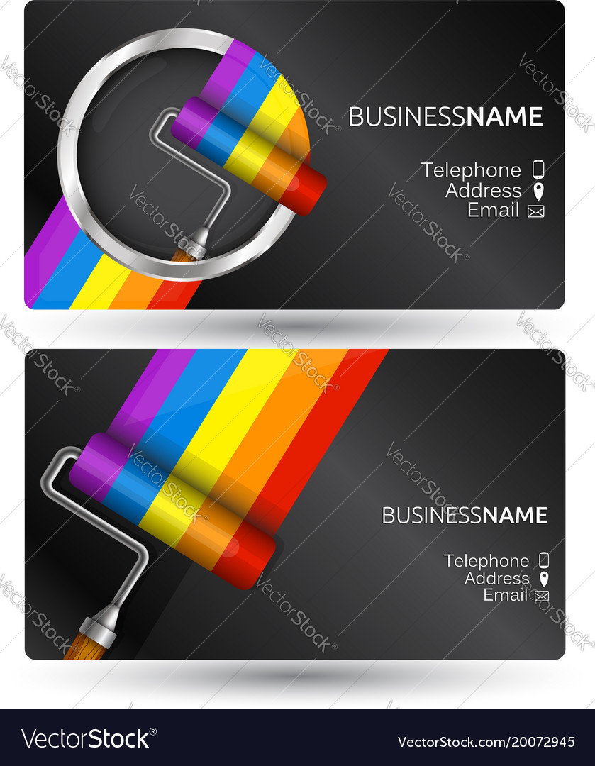 Painting business card concept Royalty Free Vector Image