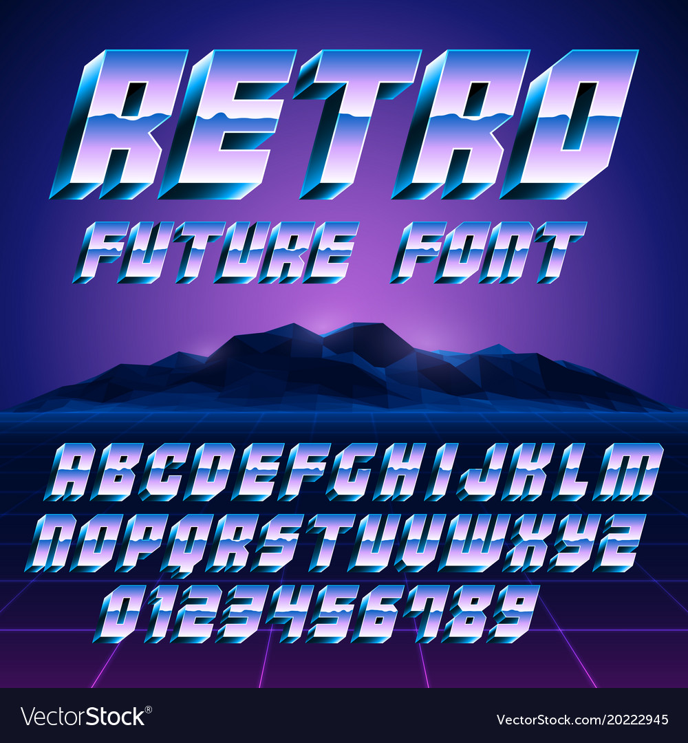 Retro 80s alphabet and numbers vector image