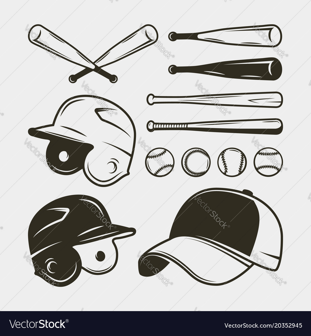 Set of baseball equipment and gear bat helmet