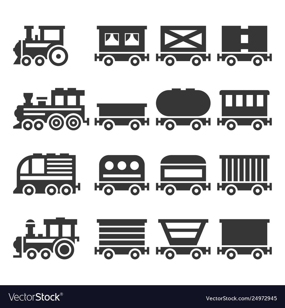 Train icons set on white background
