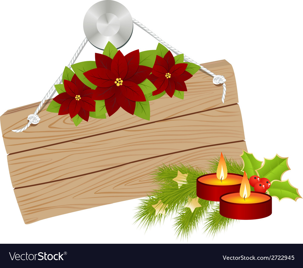 Wooden sign christmas 01 vector image