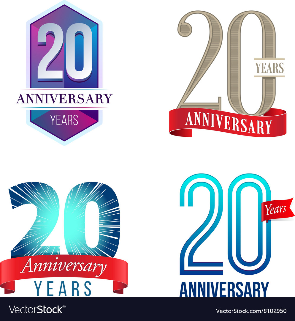 20 Years Anniversary Symbol Royalty Free Vector Image