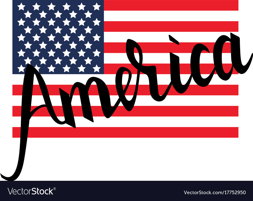 American flag with inscription brush america