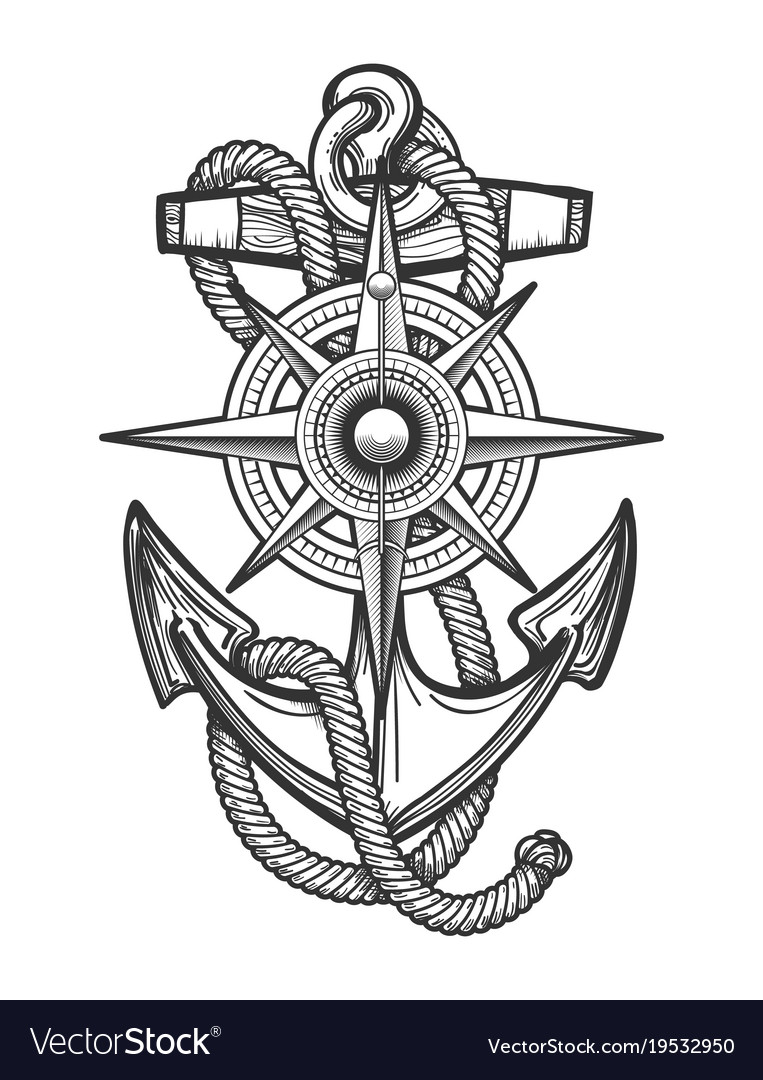 Anchor with compass engraving vector image
