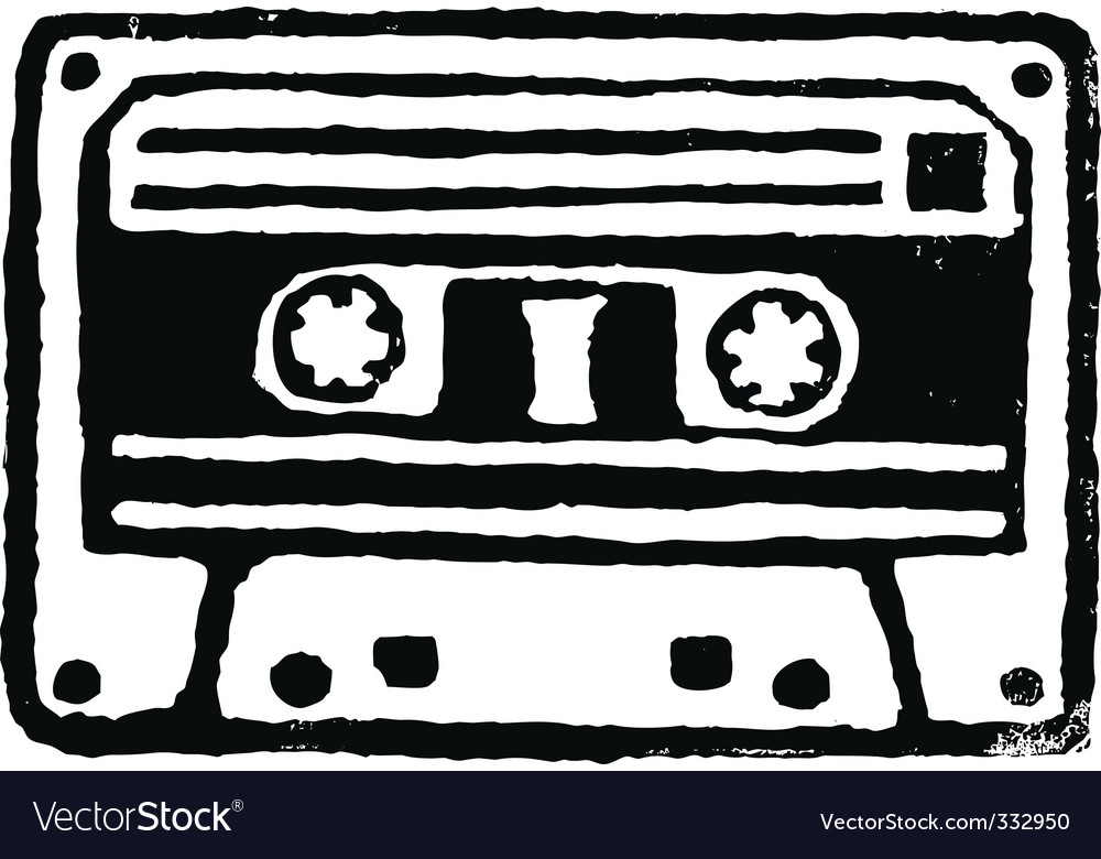 Audio cassette stamp vector image